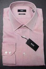 NWT Hugo Boss $155 Men's Enzo Regular Fit Light Pink Cotton Dress Shirt 41 16