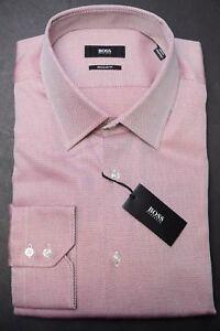 Hugo Boss $155 Men's Enzo Regular Fit Light Pink Cotton Dress Shirt New 41 16