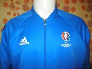 Ancienne VESTE ADIDAS UEFA EURO 2016 FRANCE TL BLEU Survêtement Jogging Football