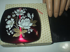STUNNING VINTAGE MADE IN ENGLAND 'MELISSA' POWDER COMPACT - ORIGINAL BOX & POUCH