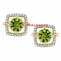 Natural  Peridot & CZ Gemstones With 925 Sterling Silver Gold Plated Cufflinks