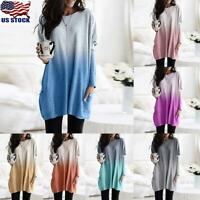 Womens Long Sleeve Pockets Baggy Tunic Tops Ladies Gradient Loose Blouse T-Shirt