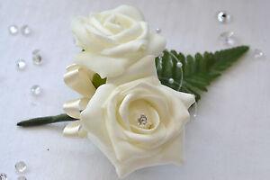 Beautiful double buttonholes ladies corsage flowers groom best man wedding guest