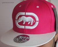 Ecko Unltd Snapback Caps, Pink flat peak fitted hats, hip hop baseball brim