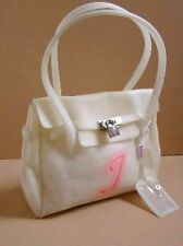 New White Pink Vinyl Name Initial i Front of Purse Bag Medium