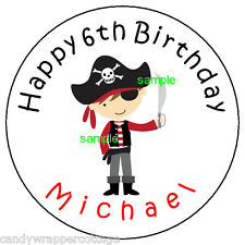 """PIRATE Birthday PARTY Personalized 2.5"""" Round Labels Favors Sticker Loot Bags"""