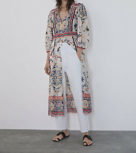 NEW WOMAN PRINTED TUNIC WITH SLITS V-NECK DRESS TOP S,M,L#