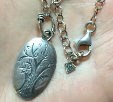 Silpada Family Tree Pendant Oxidized Sterling Silver Necklace N1878 HTF RARE