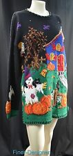 Northern Isles Hand Knitted Sweater Witches Goblins Halloween Fall tunic L NWT