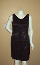 "16 Carmen Maro Black Floral w/V Neck Dressy Dress BUST 42"" Waist 37""Hip 46"""