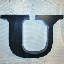 "VTG Large 17"" Tall 25"" Wide Industrial Marquee Black Metal Capital Letter ""U"""
