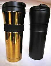 2 NEW NWT Starbucks Stainless Grip TUMBLERS 16 Oz Travelers GOLD & MATTE BLACK