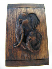 1 ELEPHANT BOX TEAK WOOD MINI CHEST! JEWELRY COINS MOTHER & BABY Elephants NEW!