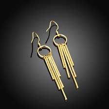 Womens Gold Plated Long Linear Tassel Drop Dangle Charm Earrings #EA34