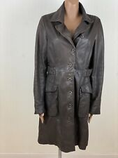 SANDWICH Full Length Long Brown Soft Leather Coat Size 40 (12)