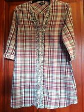Womens Shirt Checked Long Ruffle Front Size 10 (B7)