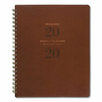 Signature Collection Distressed Brown Weekly Monthly Planner, 11 X 8 3/4, 2020-2