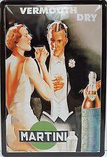 Martini Bevande Cocktail Bar Art Deco Pubblicità Medio 3D Metallo Goffrato