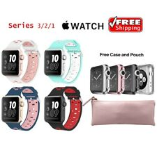 4-PACK Soft Silicone Sport Wrist Band + Case for 42mm Series 3 2 1 Apple Watch B
