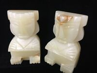 """Vintage Pair Carved Heavy Marble Aztec Mayan Tiki Stone Bookends, 5"""" T x 2 3/4"""""""