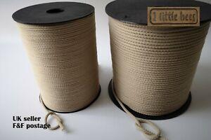 Strong Rope Ivory Soft Round Cord Drawstring Tying Craft Crochet 3mm 5mm UK