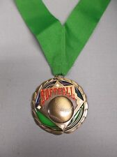 color enameled Softball gold medal with wide green neck drape trophy