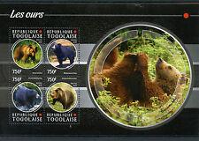 Togo 2015 Mnh Bears 4v M/S Mammals Wild Animals Brown Black Sloth Bear