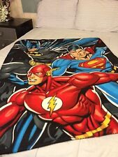 "Justice League Superman Batman Flash Fleece Blanket Throw NEW 40"" x 50"""