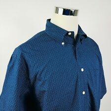 Brooks Brothers Mens Large Casual Button Down Shirt Navy Blue Floral 100% Cotton