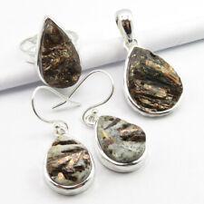 7, Pendant Earrings Set 18.7 Grams 925 Silver Original Astrophyllite Ring Size