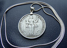 """1952 French Polynesian Rare Mint Franc Pendant on a 30"""" 925 Silver Snake Chain"""