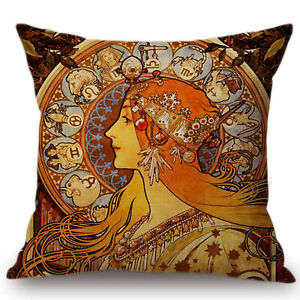 Kissenhülle Kissenbezug Motivkissen Art Nouveau Jugendstil A. Mucha Zodiac