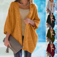 Women Casual Coats Loose Knit Sweater Coat Ladies Warm Long Coat Plus Size Tops