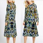 M&S Multi EMBROIDERED Long Sleeve MIDI DRESS ~ Size 12 ~ BLUE Mix