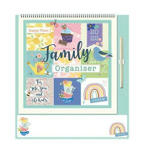 2022 Family Organiser Calendar with Note Board and Pen - Happy Vibes
