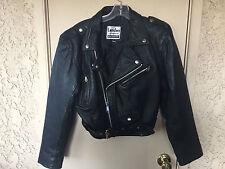 Womens heavy leather jacket biker London Leatherwear belted size L vintage