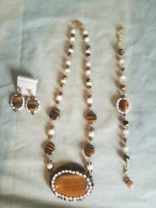 Tiger Eye,Crystal,Pearl,Necklace,Earrings,Bracelet Handmade one of a kind  USA ☆