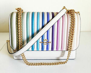 NWT Coach Klare Rainbow Ombre Quilting Crossbody Bag Multi Gold 91053 Pride