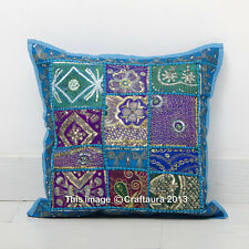 """Indian 16"""" Turquoise Patchwork Embroidered Cushion Throw Vintage Pillow Cover"""