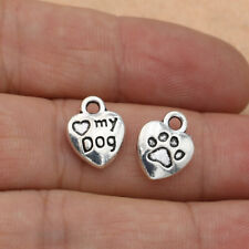 10pcs Love My Dog Tibetan Silver Bead Charms Pendants DIY Jewelry 12x10mm