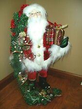 "Elegant ""Christmas 24"" Tall Santa Holding His Gifts & Holiday Garland W/Bells"""
