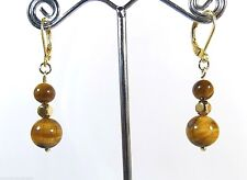 New Natural Tiger's Eye Earrings Round Drop/Dangle 14k Gold Bonded Leverback