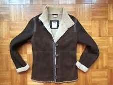 Timberland Genuine Shearling Sheepskin Brown Leather Bomber Jacket Sz 8