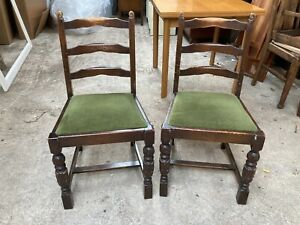 Vintage Antique Brown Wooden Dining Chairs x 2 Green Velvet Seats