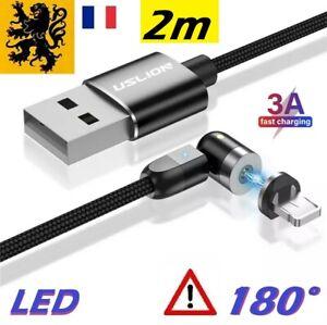 Câble chargeur rapide iPhone Apple 180° USB Lightning 5V 3A Flex Noir 2m LED