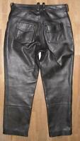fette Damen- LEDERJEANS / Biker- Lederhose in schwarz ca. (kurze) Gr. 40