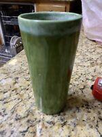 vintage matte green pottery vase Drip Glaze