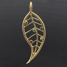 Modern Sculptural AUTUMN LEAF 5 COLOURED DIAMONDS 14k Solid Yellow GOLD PENDANT