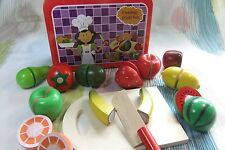 Children's Pretend Play Kitchen Wooden Cutting Velcro Fruit Set! Cooking Toys!