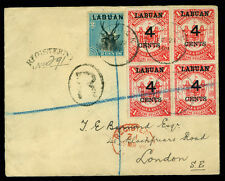 LABUAN 1896 Pictorials 2c blue Sc#50 + 4c/$1 red Sc#58 (4) used on REG cvr to UK